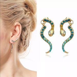 Gorgeous climber pierced dangle snake earrings
